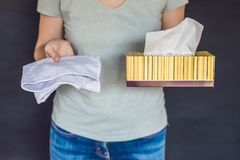 Zero waste concept. Use a Bamboo towel or disposable wipes. Zero. Zero waste concept Use a Bamboo towel or disposable wipes. Zero waste, green and conscious Stock Photo