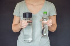 Zero waste concept. Use a plastic bottle or a glass bottle. Zero. Zero waste concept Use a plastic bottle or a glass bottle. Zero waste, green and conscious Stock Image