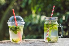 Zero waste concept Use a plastic glass or mason jar. Zero waste,. Green and conscious lifestyle concept. Reusable on the go drink container ideas Stock Photography