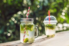 Zero waste concept Use a plastic glass or mason jar. Zero waste,. Green and conscious lifestyle concept. Reusable on the go drink container ideas Royalty Free Stock Image