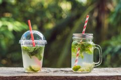 Zero waste concept Use a plastic glass or mason jar. Zero waste,. Green and conscious lifestyle concept. Reusable on the go drink container ideas Royalty Free Stock Photography