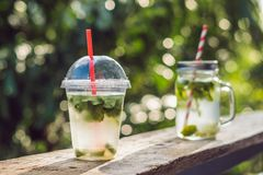 Zero waste concept Use a plastic glass or mason jar. Zero waste,. Green and conscious lifestyle concept. Reusable on the go drink container ideas Stock Photos