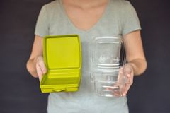 Zero waste concept. Use a reusable lunchbox or disposable dishes Stock Photography