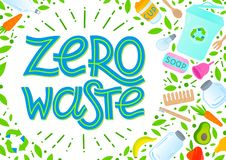 Zero waste concept. Vector illustration with lettering,vegetables,fruits,garbage can,glass jars,wooden cutlery,comb and toothbrush,menstrual cup,thermo mug vector illustration