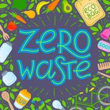 Zero waste concept. Vector illustration with hand drawn lettering,eco grocery bag,vegetables,fruits,bicycle,glass jars,wooden cutlery,comb and toothbrush royalty free illustration
