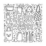 Zero waste doodle concept. Black and white vector illustration for postcards, shops or for coloring book stock illustration