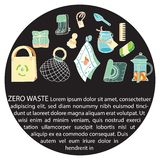 Zero waste similar 2. Zero waste doodle with text. Sustainable household and ecoliving concept. Articles about ecology, zero waste and green life-style royalty free illustration