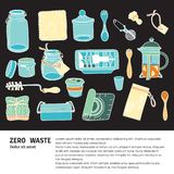 Zero waste similar 2. Zero waste doodle with text. Sustainable household and ecoliving concept. Articles about ecology, zero waste and green life-style vector illustration