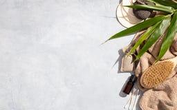 Zero waste, eco friendly bathroom accessories on concrete background royalty free stock photo