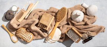 Zero waste, eco friendly bathroom accessories on concrete background stock image