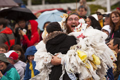 Zero Waste Freak Show. Seattle, Washington - June 18, 2011:  A man, part of the Nuclear Waste Freak Show ensemble, is hugging a bystander during the 2011 Annual Stock Photography
