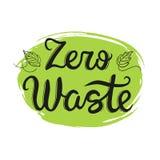 Zero waste handwritten text isolated on white background. vector illustration