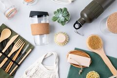 Free Zero Waste Kit. Set Of Eco Friendly Bamboo Cutlery, Mesh Cotton Bag, Reusable Coffee Tumbler, Brushes, Bar Soap And Water Bottle. Royalty Free Stock Photo - 170989285