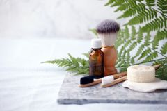 Zero waste natural cosmetics products on marble desk, organic plantbased cosmetic concept, eco-friendly background, minimal.  royalty free stock image