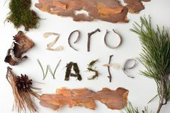 Zero waste natural organic text from forest deteails on white background, eco-friendly, ecology lettering, earth day creative idea stock photos