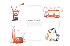 Zero waste, nature, ecology protection, pollution reduction, environment preservation, plastic free banner. Garbage disposal, trash recycling concept sketch vector illustration