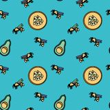 Zero waste pattern. Seamless patterns with bees and fruit. Stationery and fabric print pattern stock illustration