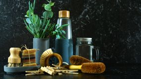 Zero waste, plastic-free, eco-friendly kitchen household products concept. royalty free stock photo
