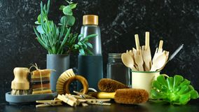 Zero waste, plastic-free, eco-friendly kitchen household products concept. stock photography