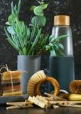 Zero waste, plastic-free, eco-friendly kitchen household products concept. stock photo