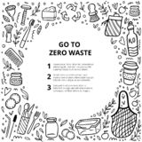 Zero waste. Round frame with doodle elements. Black and white hand-drawn vector illustration. Good for banner, postcard, background or flyer stock illustration