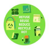 Zero waste similar 2. Zero waste doodle. Refuse Reduce Reuse Recycle Rot text. Items from ecoliving and sustainable household vector illustration