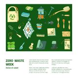 Zero waste similar 2. Zero waste doodle with text. Sustainable household and ecoliving concept. Articles about ecology, zero waste and green life-style stock illustration