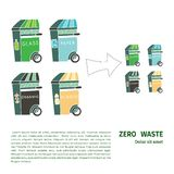 Zero waste similar 2. Four garbage containers for organics, plastic, glass and paper. Sustainable household and zero waste ecohouse. Doodle illustration with vector illustration