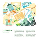Zero waste similar 2. Zero waste illustration with text. Sustainable beauty, kitchen and household items. Ecohome vector illustration
