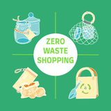 Zero waste similar 2. Zero waste shopping text with pictures of storage and shopping items such as bags, pouches, glass jars. Sustainable household. Plastic-free vector illustration
