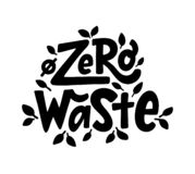 Zero waste text hand lettering sign. Ecology concept, recycle, reuse, reduce vegan lifestyle. Vector illustration. Zero waste text hand lettering sign. Ecology vector illustration