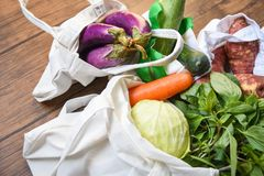 Zero waste use less plastic concept / Fresh vegetables organic in eco cotton fabric bags on wooden table. White tote canvas cloth bag from market stock photos