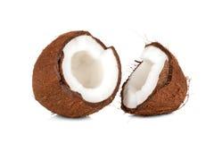 Zerquetschtes cocnut auf Weiß Lizenzfreies Stockbild
