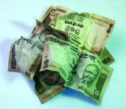 Zerquetschtes indisches Bargeld Lizenzfreie Stockfotos