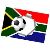 Zerrissene Markierungsfahne mit Fußballkugel Stockbild
