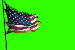 Zerrissene USA-Flagge, -sternenbanner -Amerikaner des Rissschmutzes alte auf Farbenreinheitsschlüssel grünen Schirmhintergrund Stockbilder