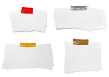 Zerrissener Weißbuchanmerkungsmeldunghintergrund Stockbilder