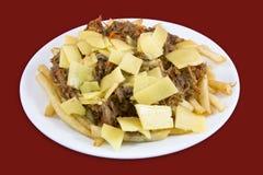 Zerrissenes Fleisch mit den Franzosen gebraten und Käse Stockfotos