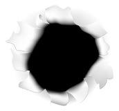 Zerrissenes Papierloch Stockfotografie