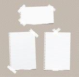 Zerrissenes Weiß ordnete, leere Anmerkung, Notizbuch, die Schreibheftpapierblätter an, die mit weißem Klebeband auf braunem quadr Stockfoto