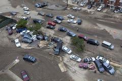 Zerschmetterte Autos nach Hurrikan Sandy Stockfoto
