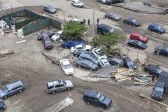 Zerschmetterte Autos nach Hurrikan Sandy Lizenzfreies Stockfoto