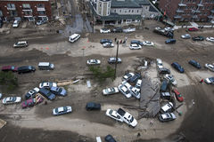 Zerschmetterte Autos nach Hurrikan Sandy Lizenzfreie Stockfotos