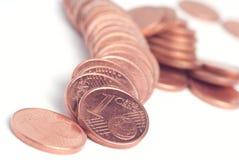 Zerschmetterter Stapel Eurocents benutzt Lizenzfreie Stockfotos