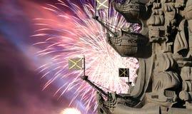 Zersplittern Sie Monument zu Peter der Große und zu den Feuerwerken, Moskau, Russland Stockfoto