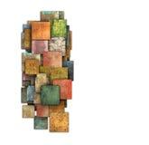 Zersplitterte mehrfache Farbquadratfliesenschmutz-Musterform Stockfoto