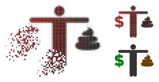Zersplittertes Pixelated-Halbton Person Compare Shit Dollar Icon lizenzfreie abbildung