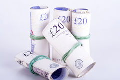 Zerstößt Banknoten auf einem weißen Hintergrund Lizenzfreie Stockbilder