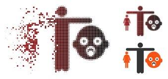 Zerstörte Pixel-Halbtonmutter gegen Baby-Ikone vektor abbildung