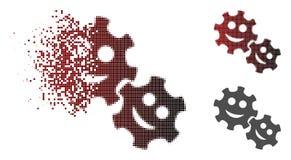 Zerstörter Dot Halftone Happy Gears Icon Vektor Abbildung